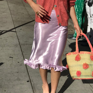 Satin Bias Midi Skirt In Lavender - SAMPLE! $42