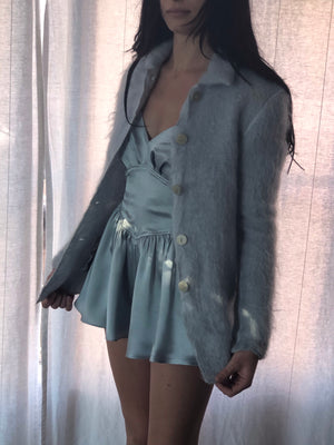 Softest Pale Blue Mohair Blazer - Size Xsmall To Small