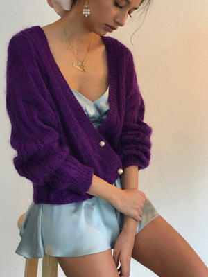 Fuzziest Mohair Cardigan With Gobstopper Pearl Buttons - Size Small/Medium