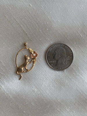Vintage 14k Kitten At Play Charm 🐱