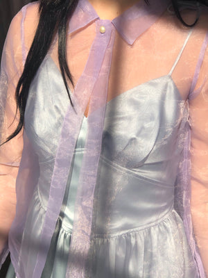 Gorgeous Sheer Lilac Blouse - Size Xsmall To Small