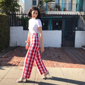 Picnic Pant in Scarlet Check AT COST $72
