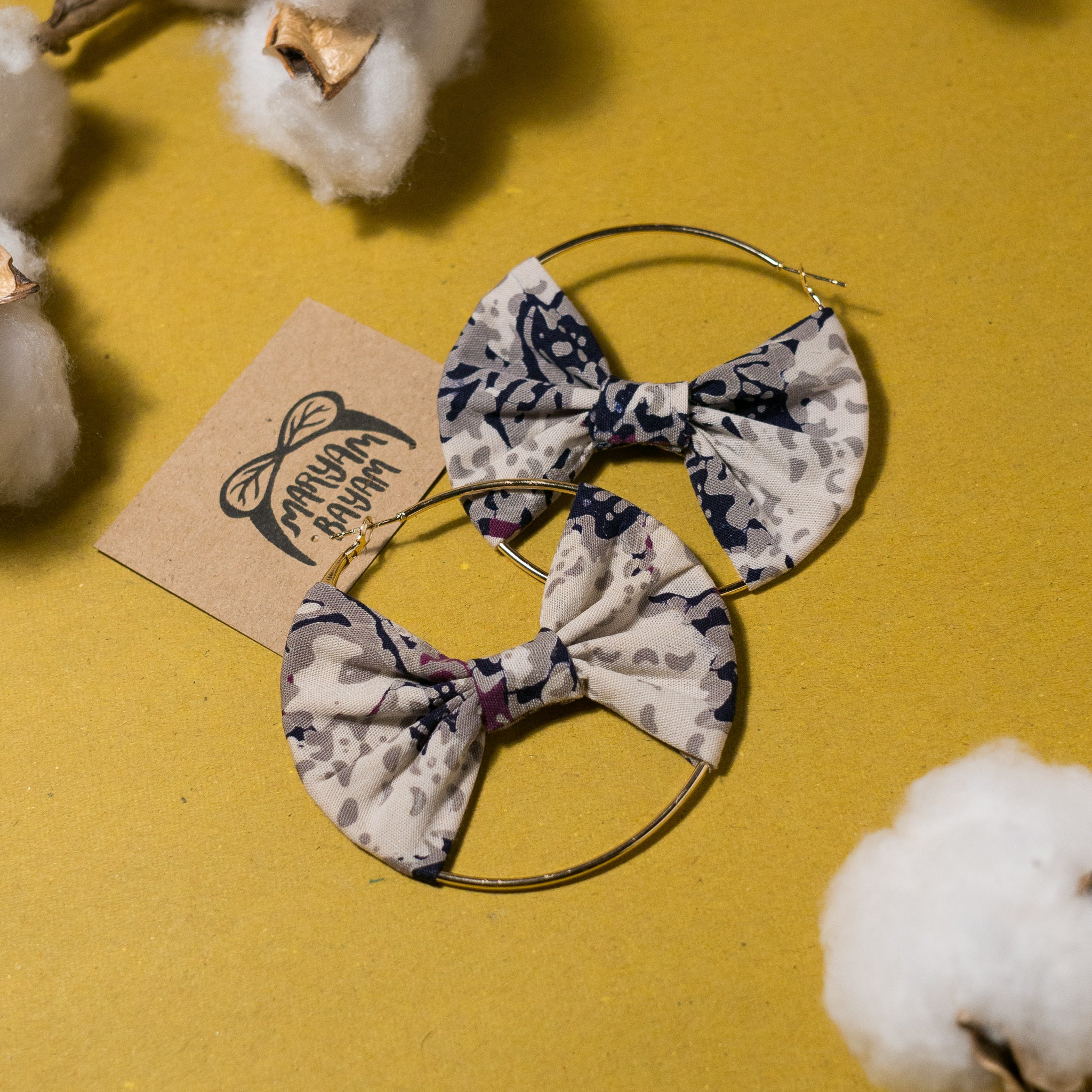 Inez Batik Bow Hoops (Mini)
