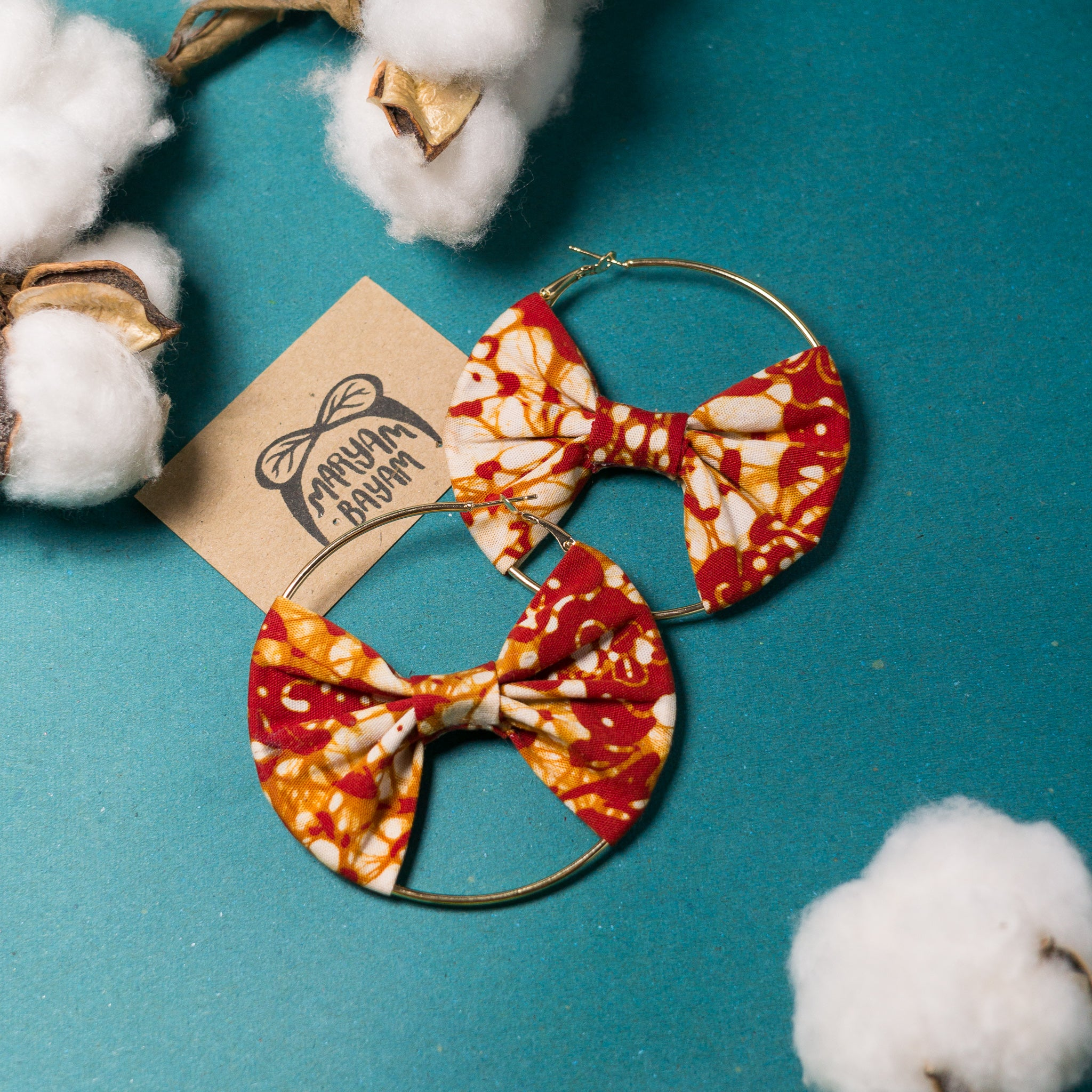 Grace Batik Bow Hoops (Mini)
