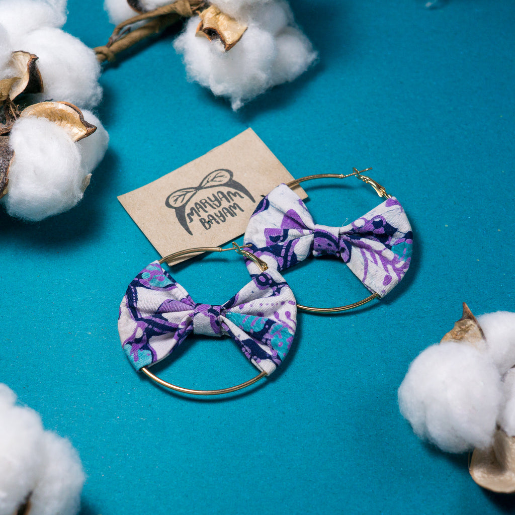 KAYLA Batik Bow Hoops (Mini)