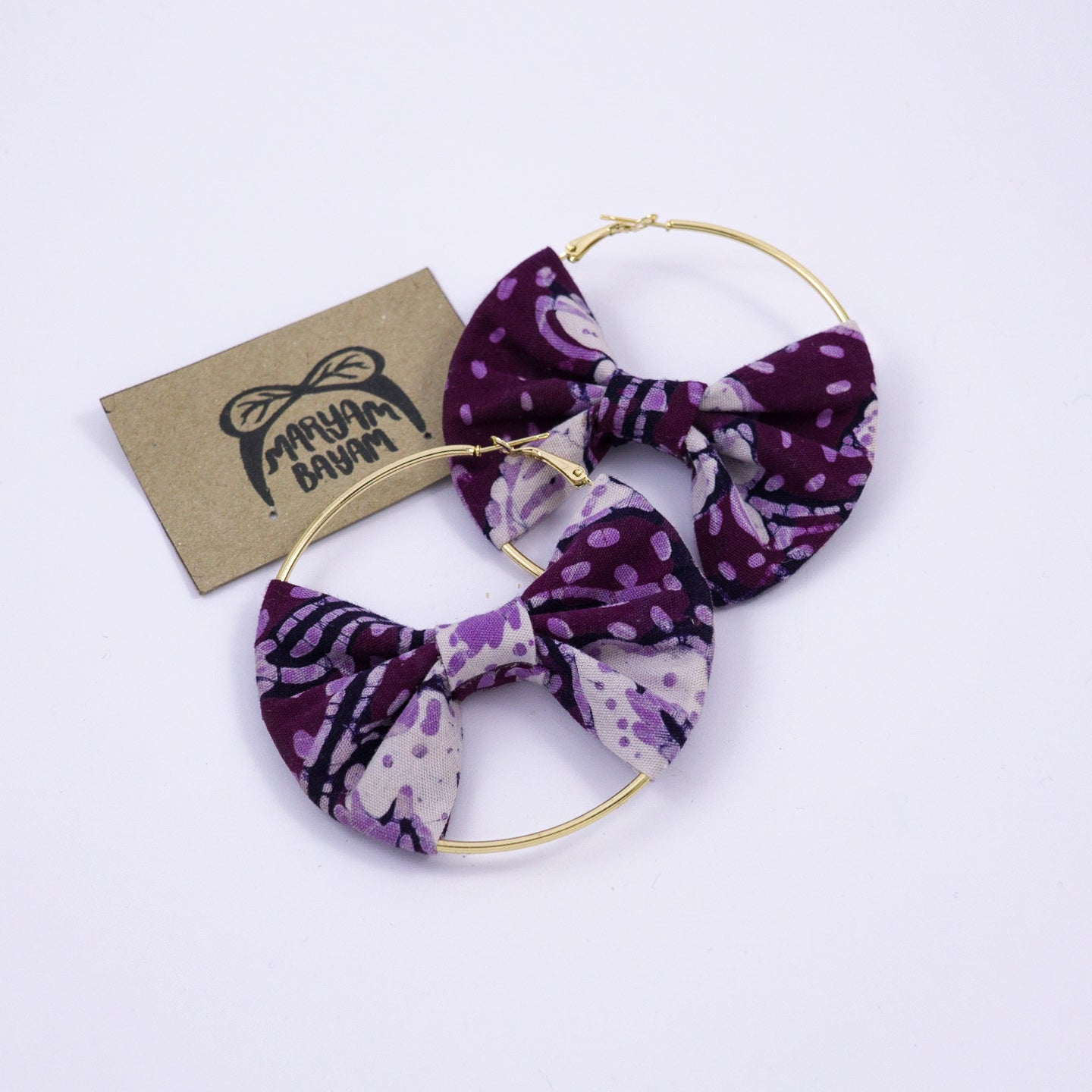 HALEY Batik Bow Hoops - MaryamBayam – Better in Batik