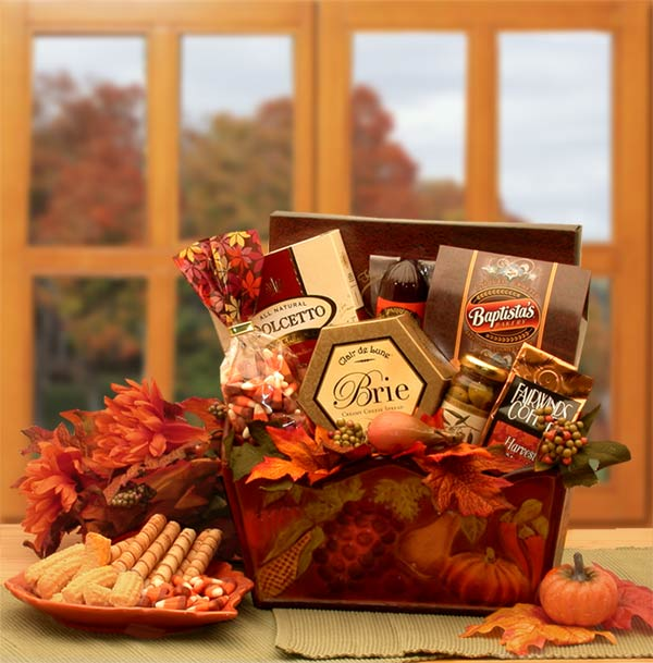 A Gourmet Fall Harvest Gift Basket - Real Estate Closing gifts, Housewarming gifts