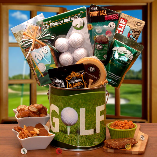 Fore! Golfers Gift Pail - Golf Lovers - Real Estate Closing gifts, Housewarming gifts