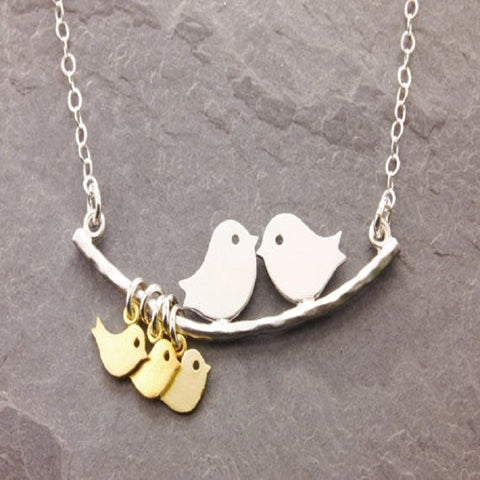 Free - Very Cute Birdie Family Pendant Necklace With Up to 8 Baby Chicks - Just Pay Shipping