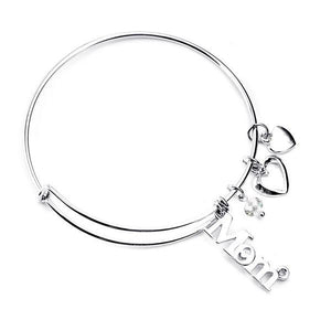 Love Mom Silver Bangle