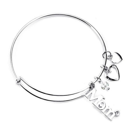Image of Love Mom Silver Bangle