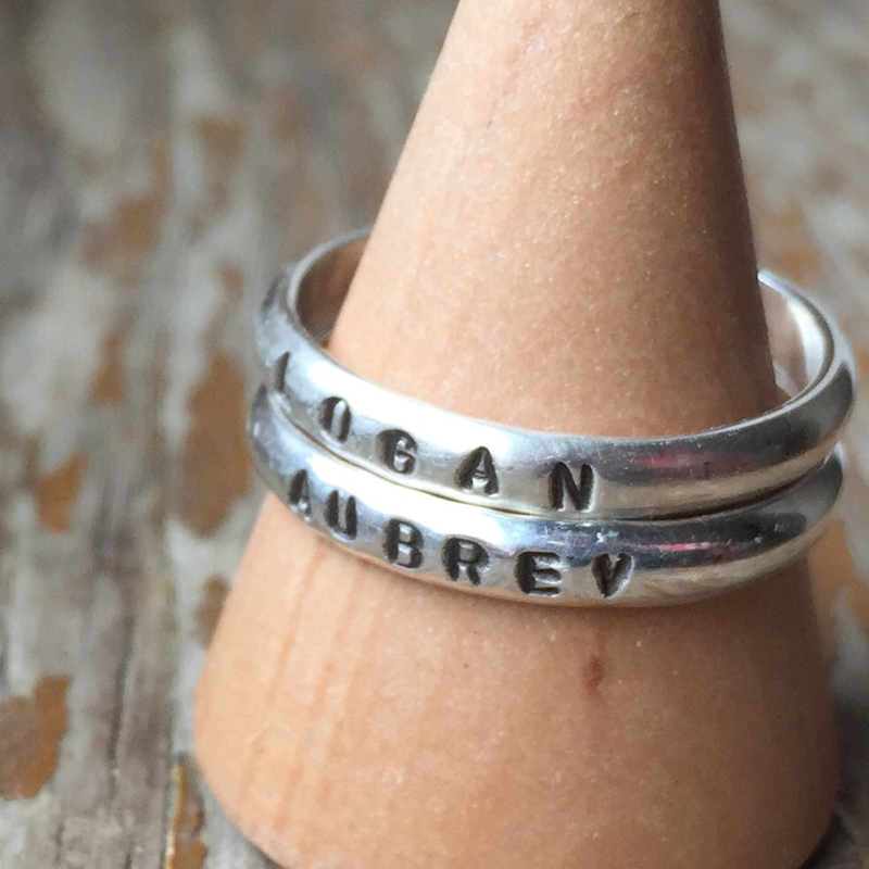 Simple, stackable stamped ring - sterling silver