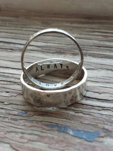 Matching sterling silver ring bands with secret stamped message inside