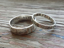 Load image into Gallery viewer, Matching silver ring bands with secret stamped message inside
