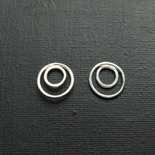 Load image into Gallery viewer, Double circle sterling silver earrings