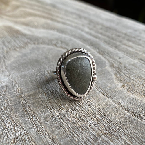 Beach stone and sterling silver ring - size 5.5