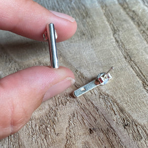 Minimalist slim bar sterling silver earrings