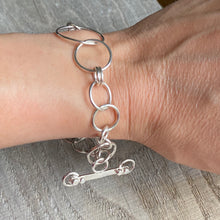 Load image into Gallery viewer, Bracelet - sterling silver circles forged