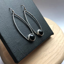 Load image into Gallery viewer, Boho inspired silver and black onyx dangle earrings