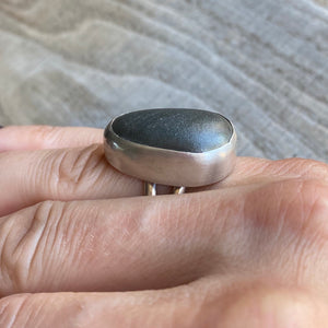 Beach stone and sterling silver ring - size 6.5