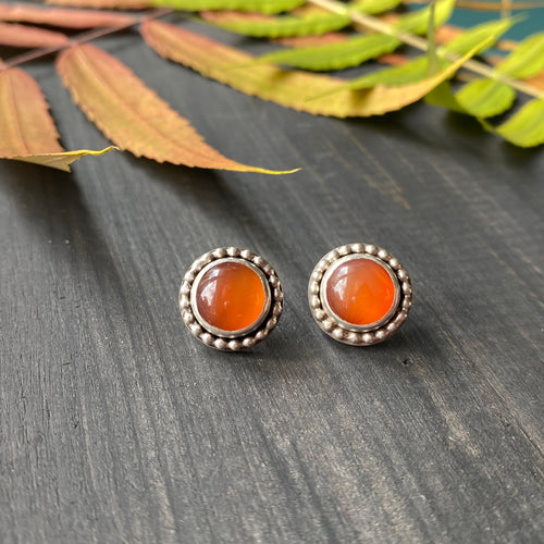 Gemdrop stud earrings - orange carnelian in sterling silver