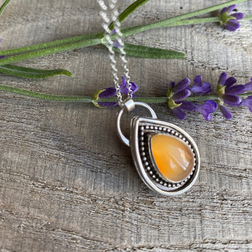 Rainbow drop - orange carnelian sterling silver pendant