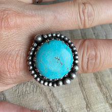 Load image into Gallery viewer, Blue waters turquoise and sterling silver ring - size 6