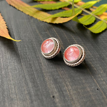 Load image into Gallery viewer, Gemdrop stud earrings - Pink tourmaline quartz in sterling silver