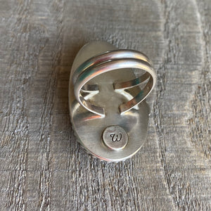 Natural beach stone and sterling silver ring - size 8