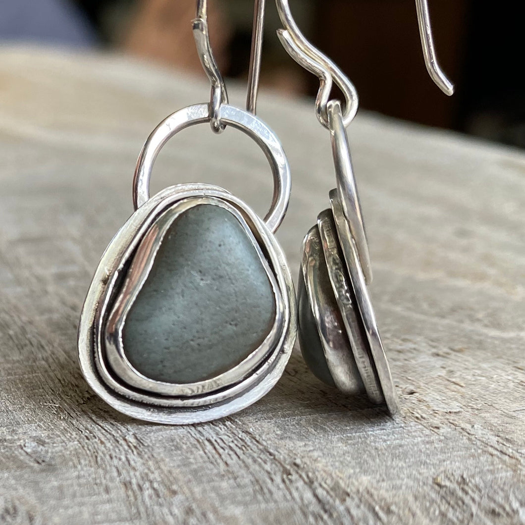 Pebbles by the beach - sterling silver earrings