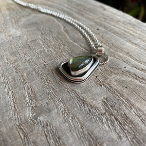 Northern lights - green labradorite and sterling silver necklace