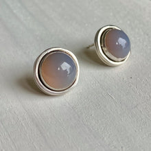 Load image into Gallery viewer, Gemdrop stud earrings - Smokey grey agate in sterling silver