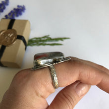 Load image into Gallery viewer, Chunky crazy agate and sterling silver ring - size 7.5