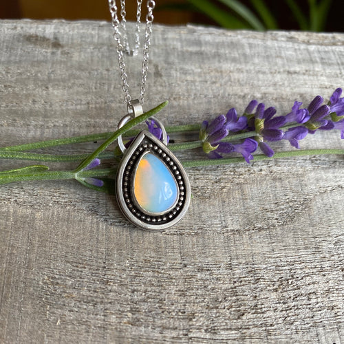 Rainbow drop - opal teardrop sterling silver pendant