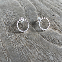 Load image into Gallery viewer, Dotted circle stud earrings in sterling silver