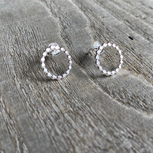 Dotted circle stud earrings in sterling silver