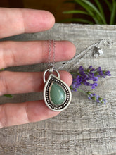 Load image into Gallery viewer, Rainbow drop - green aventurine and sterling silver pendant