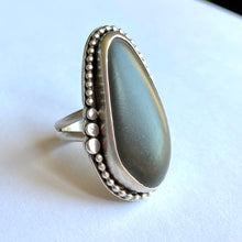 Load image into Gallery viewer, Beach stone and sterling silver ring - size 8