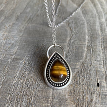 Load image into Gallery viewer, Rainbow drop - Tiger eye and sterling silver pendant