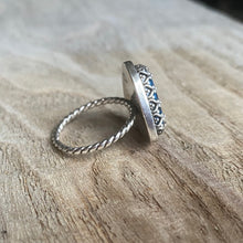Load image into Gallery viewer, Blue jasper and sterling silver triangle ring - size 7