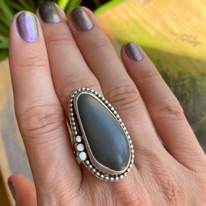 Beach stone and sterling silver ring - size 8