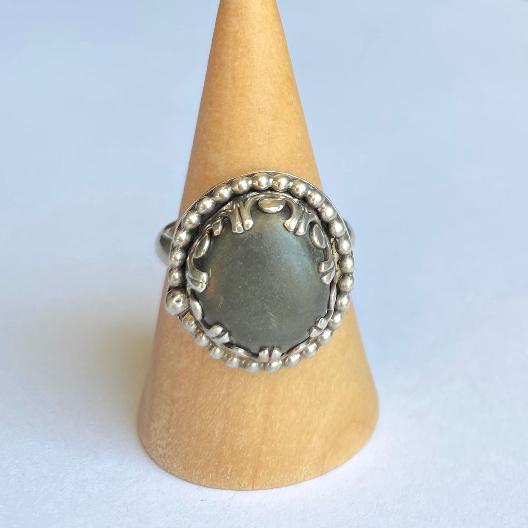 Bohemian beach pebble and sterling silver ring - size 6