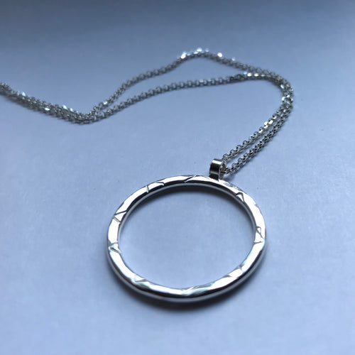 Rustic hammered circle pendant necklace