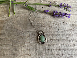 Rainbow drop - green aventurine and sterling silver pendant