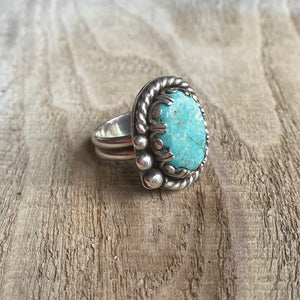 Blue bohemian turquoise and sterling silver ring - size 6.75