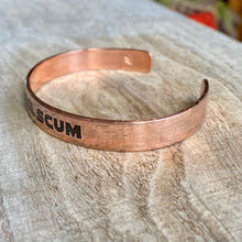 "Load image into Gallery viewer, Inspiration cuff - ""Rebel Scum"" - etched copper bracelet"