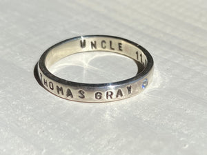 Family memory ring with birthstone