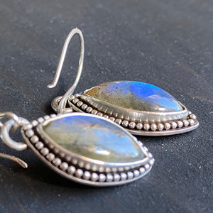 Labradorite marquise earrings - deep sky blue gemstones in sterling silver