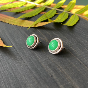 Gemdrop stud earrings - bright green agate in sterling silver