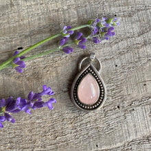 Load image into Gallery viewer, Rainbow drop - rose quartz and sterling silver pendant